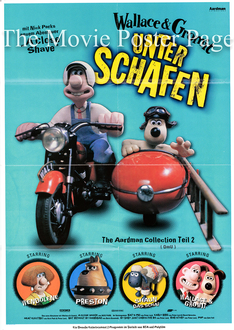 Pictured is a German one-sheet poster for the 1995 Nick Park film A Close Shave starring Peter Sallis as the voice of Wallace.