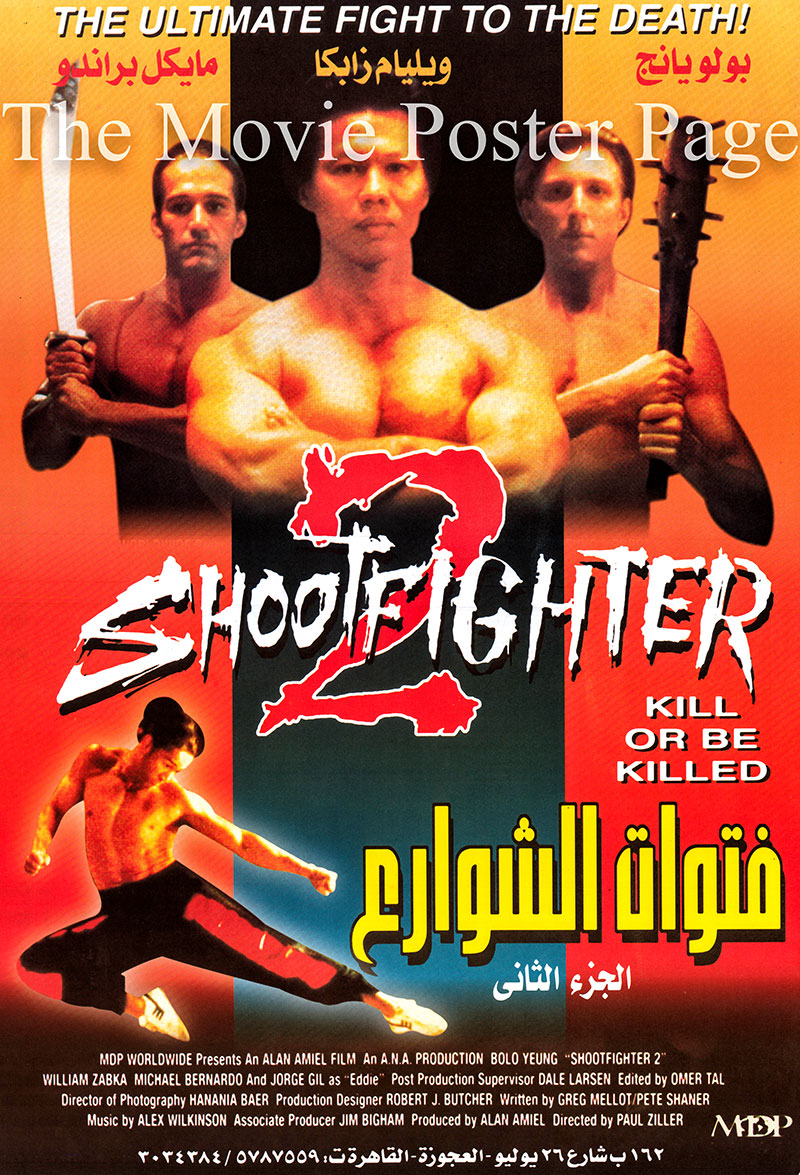 Pictured is an Egyptian promotional poster for the 1996 Paul Ziller film Shootfighter 2, starring Bolo Yeung as Shingo.