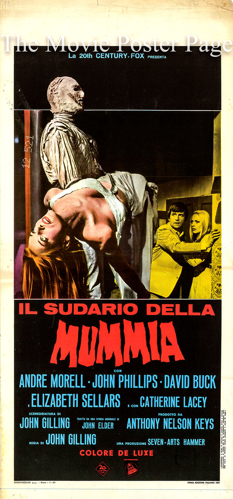 Pictured is an Italian locandina poster for the 1967 John Gilling film The Mummy's Shroud starring André Morell as Sir Basil Walden.