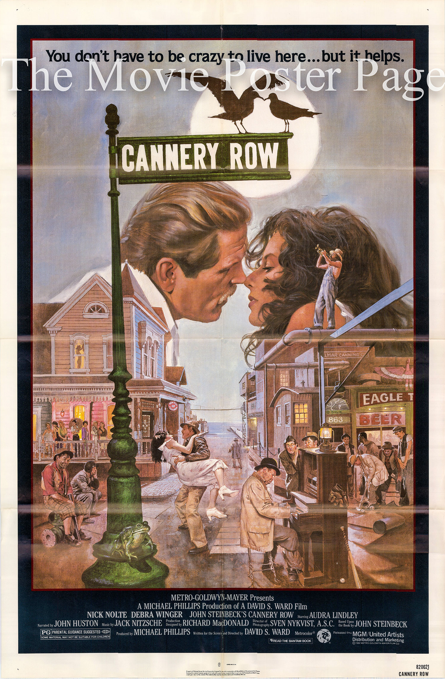 Pictured is a US one-sheet poster for the 1982 David S. Ward film Cannery Row starring Nick Nolte.