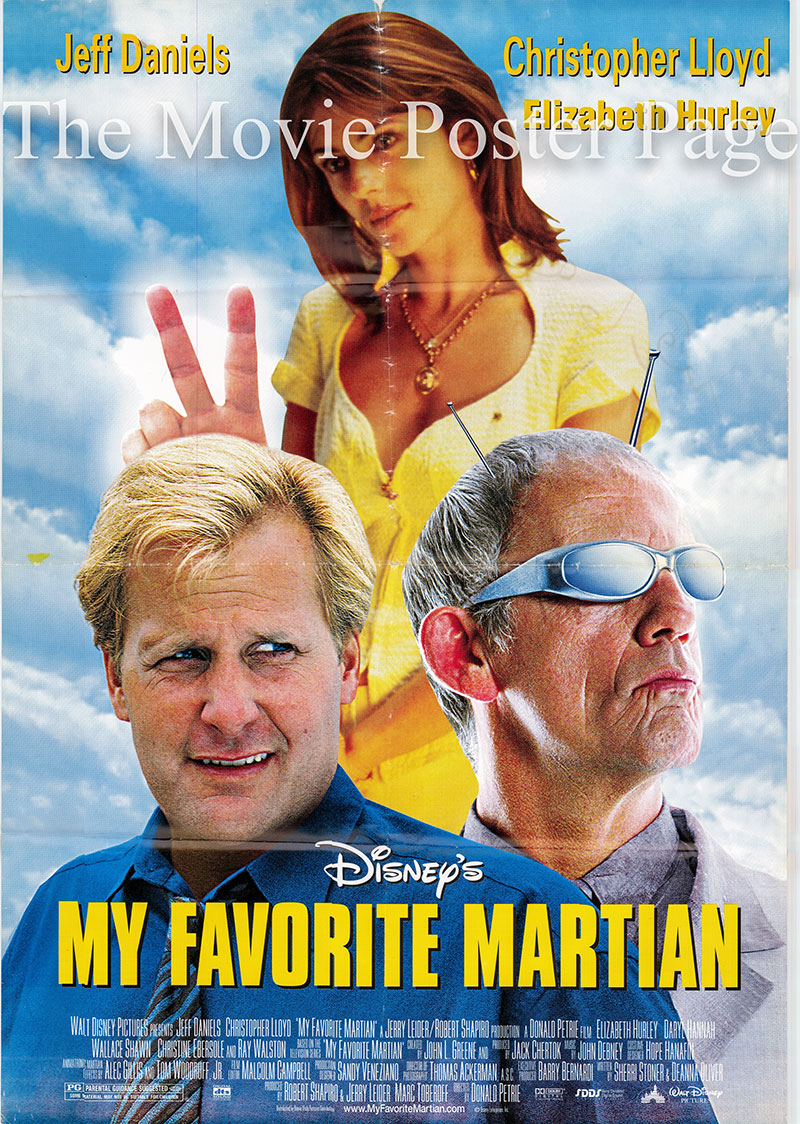 Pictured is a US one-sheet poster for the 1999 Donald Petrie film My Favorite Martian starring Christopher Lloyd.