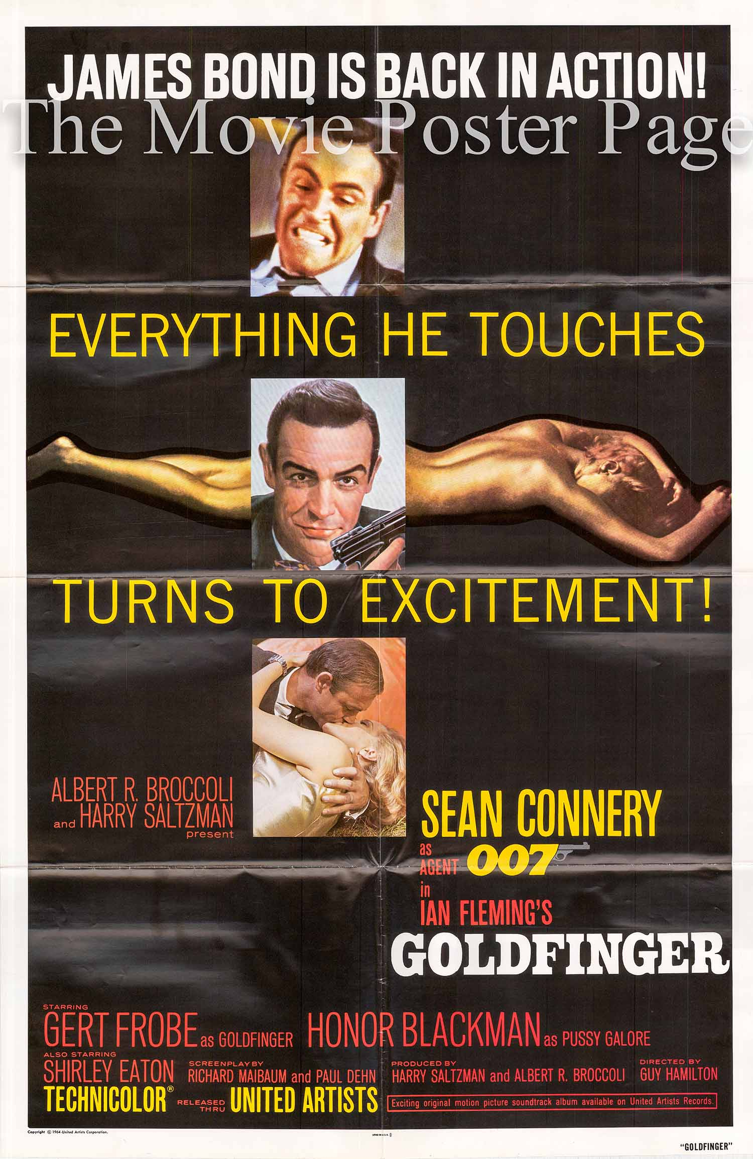 Pictured here is a US promotional poster made in 1980 to promote a rerelease of the 1964 Guy Hamilton film Goldfinger starring Sean Connery as James Bond.