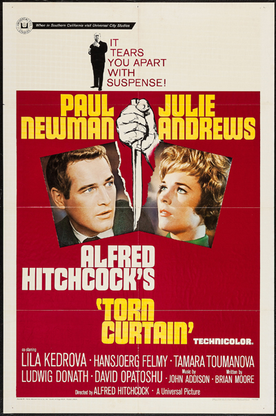 Pictured is a US one-sheet promotional poster for the 1966 Alfred Hitchcock film Torn Curtain starring Paul Newman and Julie Andrews.