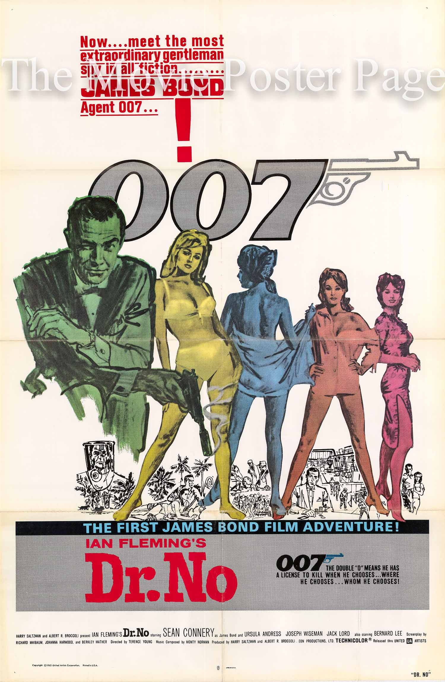 Pictured is a US promotional one-sheet poster for a 1980 rerelease of the 1962 Terence Young film Dr. No starring Sean Connery.