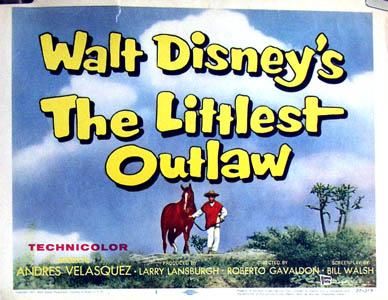 Pictured is a US title card for the 1955 Roberto Gavoldon film The Littlest Outlaw, starring Andres Velasquex.
