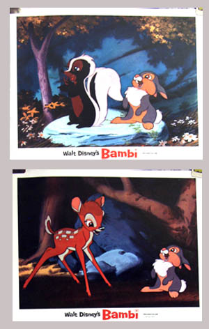 Pictured are two undated lobby cards for a rerelease of the 1942 James Algar Disney animation film Bambi.