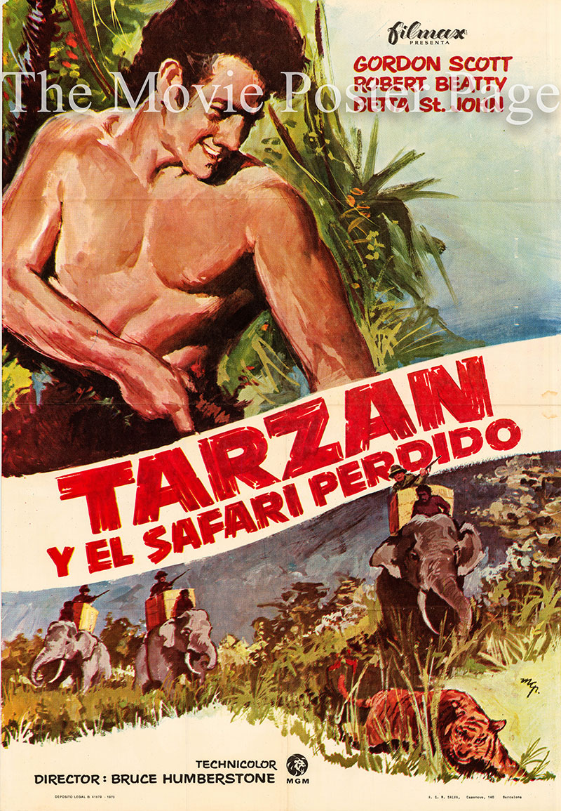 Pictured is a Spanish one-sheet poster for a 1973 rerelease of the 1957 Bruce Humberstone film Tarzan and the Lost Safari starring Gordon Scott as Tarzan.