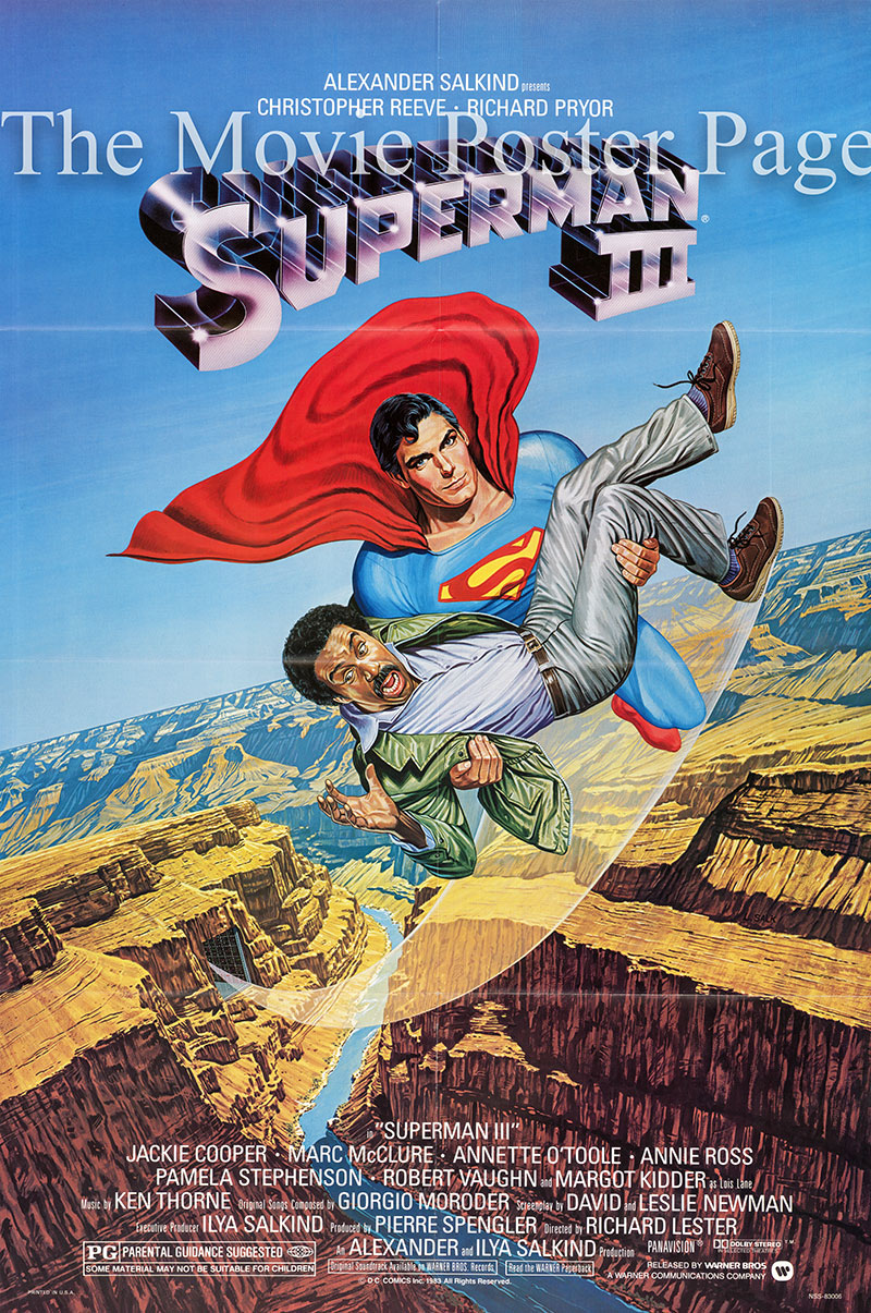 Pictured is a US one-sheet poster for the 1982 Richard Lester film Superman III starring Christopher Reeve as Superman.