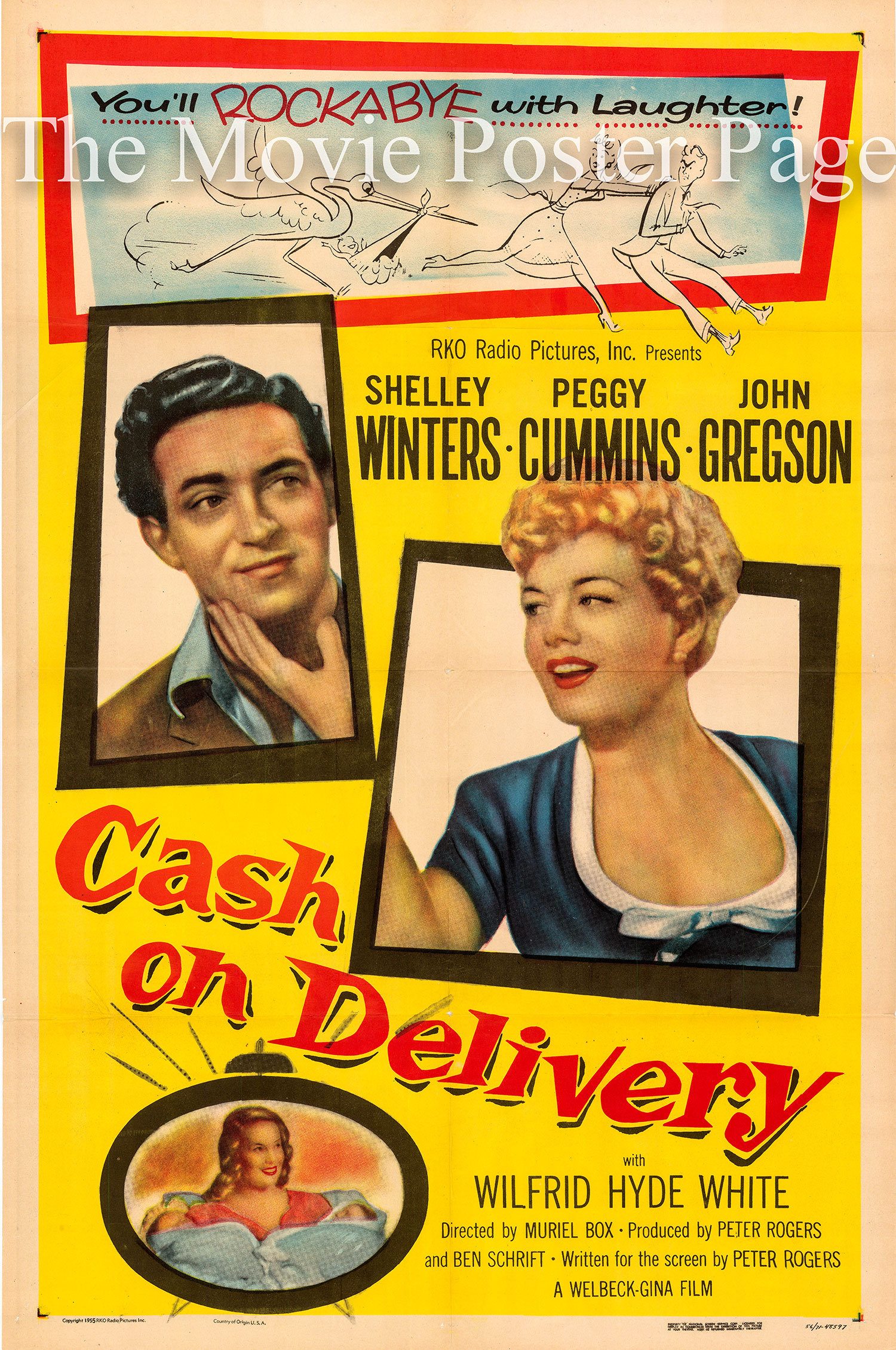 Pictured is a US one-sheet poster for the 1956 Muriel Box fielm Cash on Delivery starring Shelley Winters.