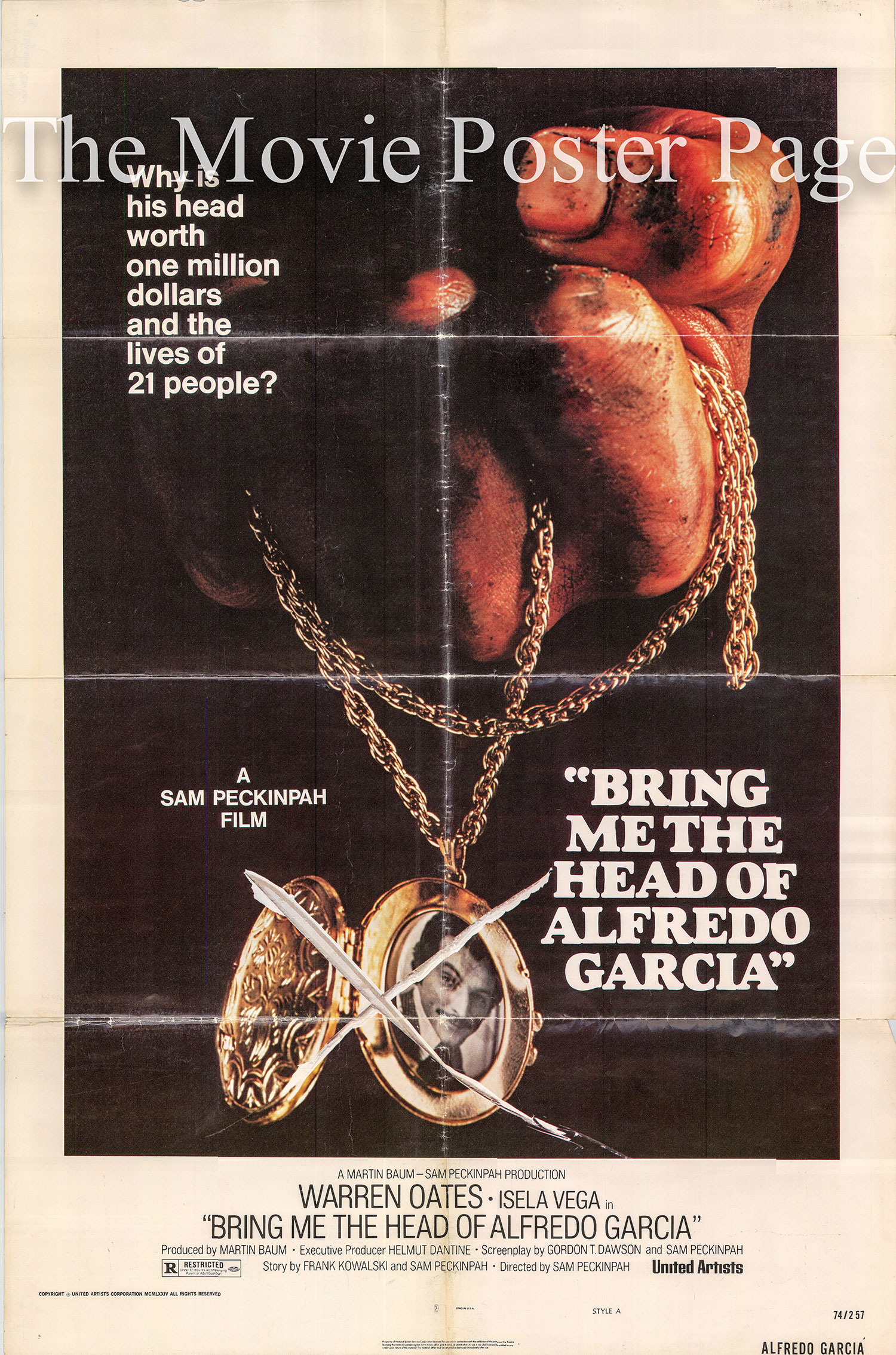 Pictured is a US one-sheet poster for the 1974 Sam Peckinpah film Bring Me the Head of Alfredo Garcia.