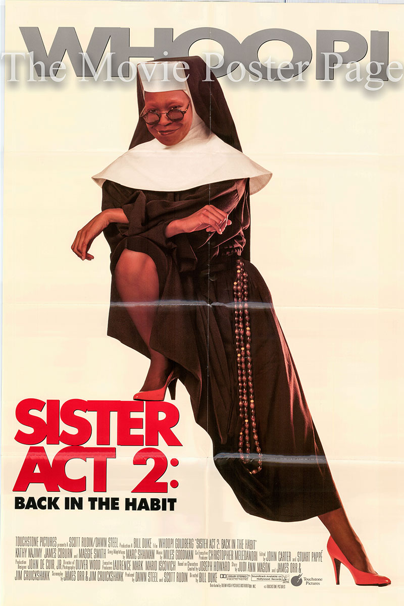 Pictured is a US one-sheet poster for the 1993 Bill Duke film Sister Act 2: Back in the Habit, starring Whoopi Goldberg as Deloris.