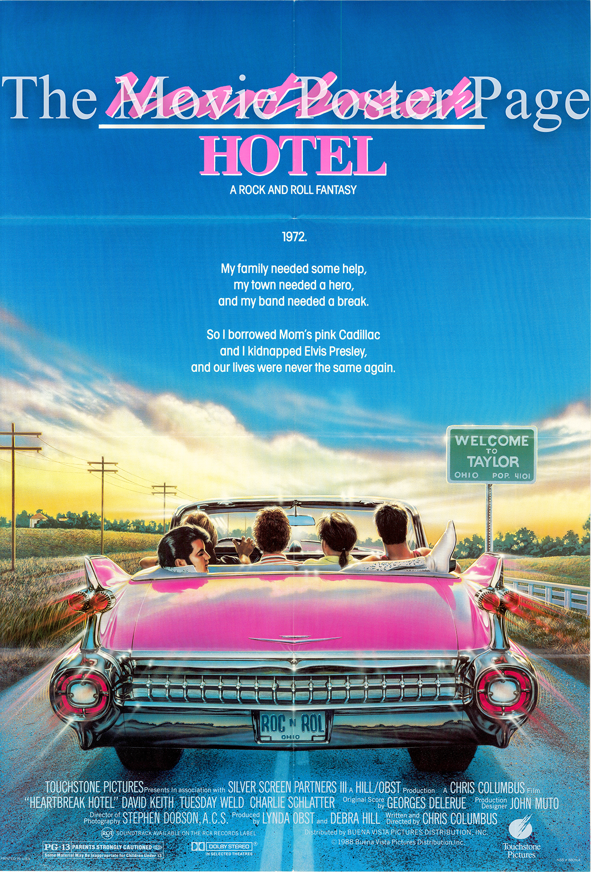 Pictured is a US one-sheet promotional poster for the 1988 Chris Columbus film Heartbreak Hotel starring David Keith.