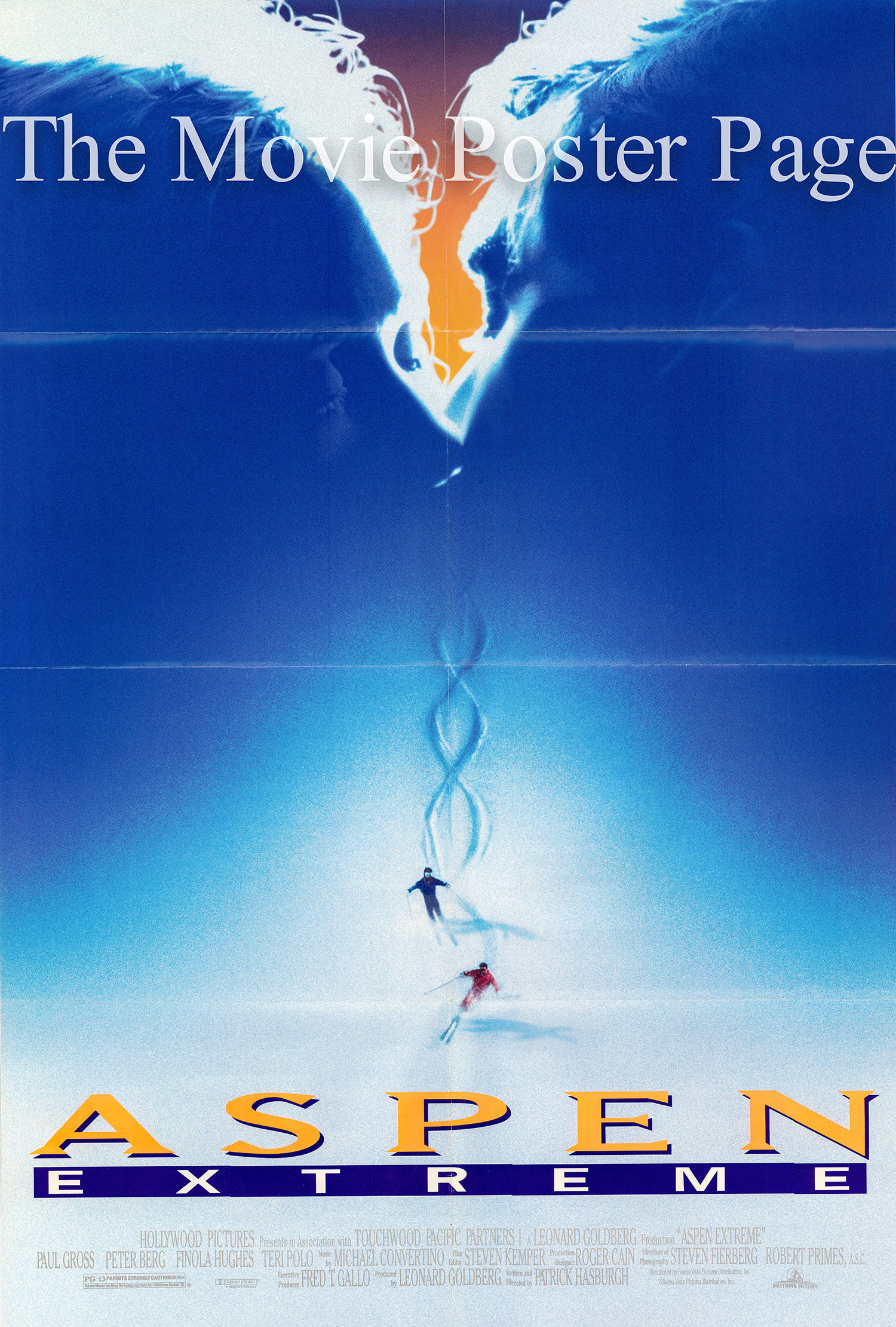 Pictured is a US one-sheet poster for the 1993 Paul Hasburgh film Aspen Extreme starring Paul Gross.