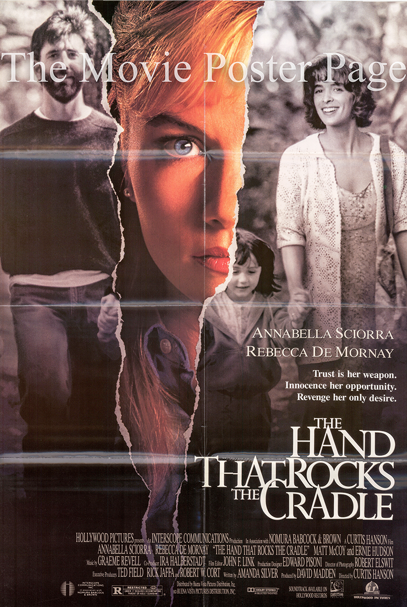 Pictured is a US one-sheet poster for the 1992 Curtis Hanson film The Hand that Rocks the Cradle starring Anabella Sciora.