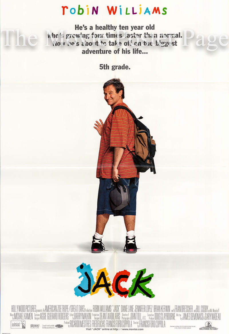 Pictured is a US one-sheet poster for the 1996 Francis Ford Coppola film Jack starring Robin Williams.