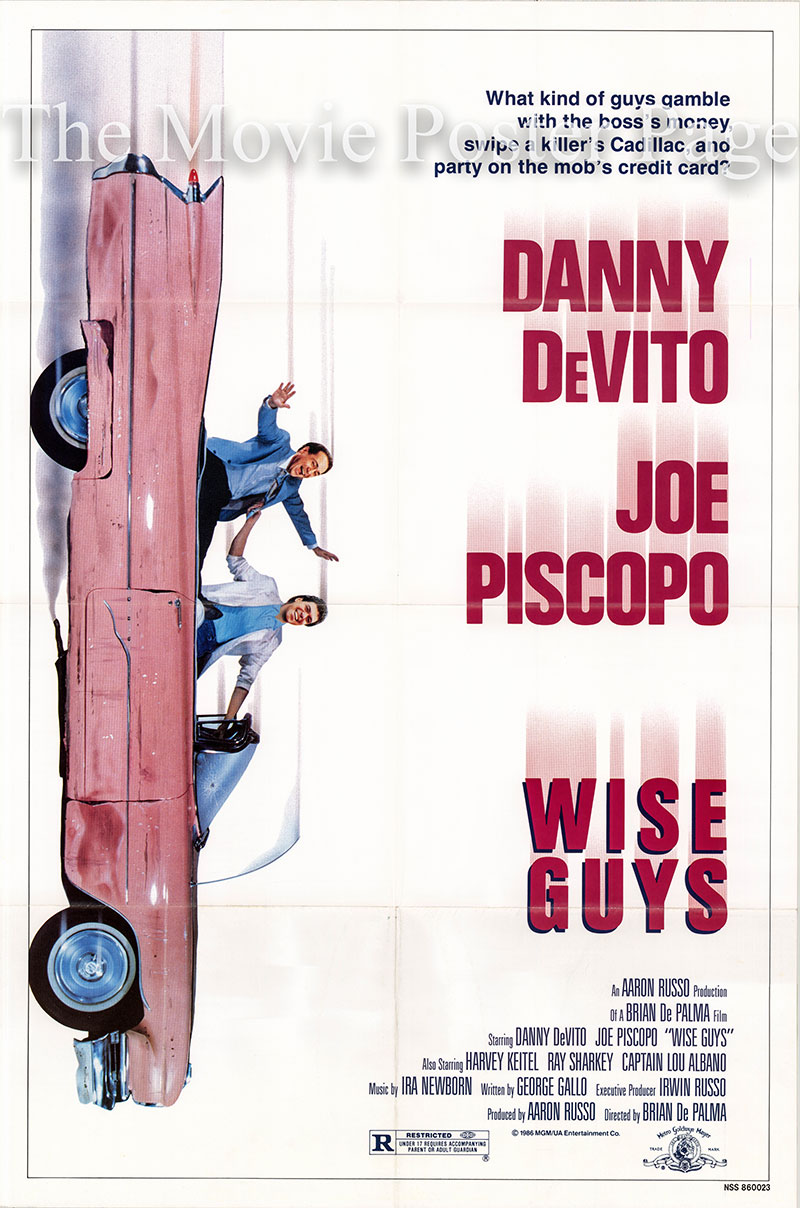 Pictured is a US one-sheet promotional poster for the 1986 Brian De Palma film Wise Guys starring Danny DeVito.