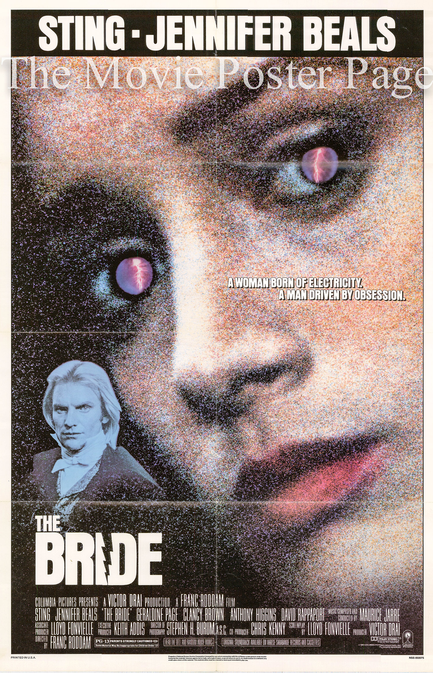 Pictured is a US one-sheet poster for the 1985 Franc Roddam film The Bride starring Sting and Jennifer Beals.