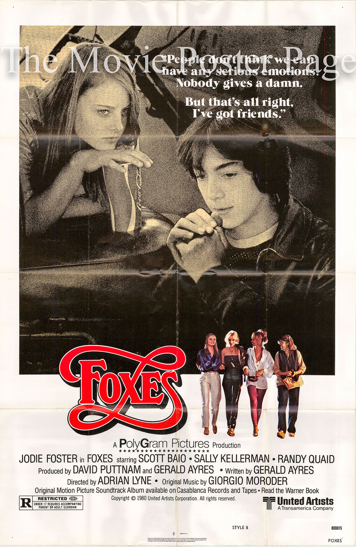 Pictured is a US one-sheet poster for the 1980 Adrian Lyne film Foxes starring Jodie Fosters.