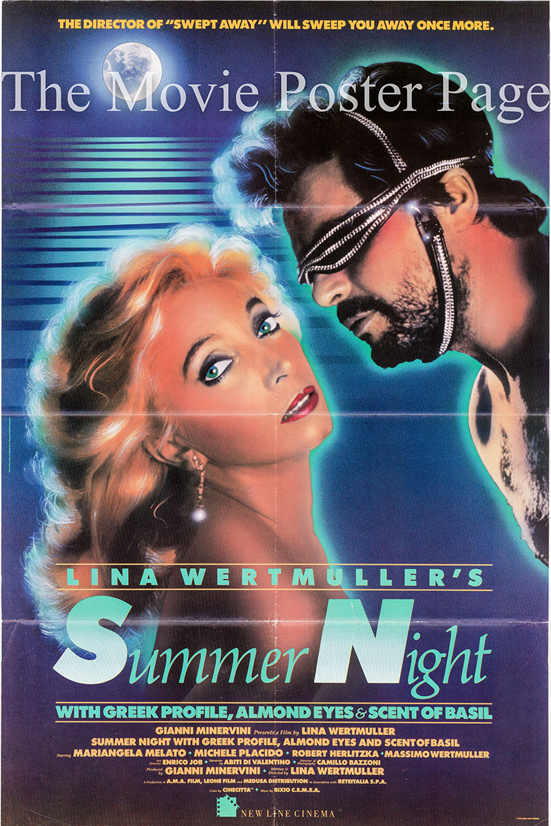 Pictured is a US one-sheet poster for the 1986 Lina Wertmuller film Summer night with Greek Profile, Almond Eyes and the Scent of Basil starring Mariangela Melato as Fulvia Bolk.