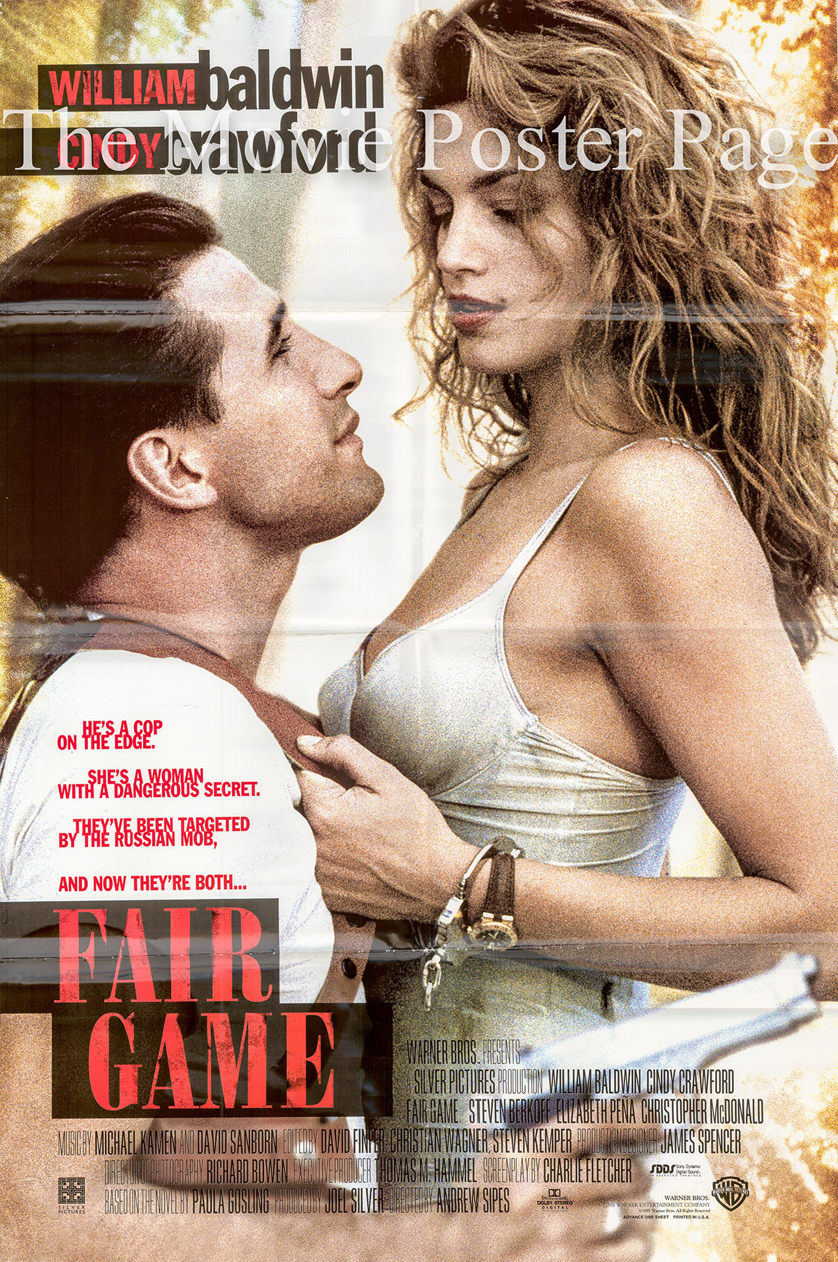 Pictured is a US one-sheet poster for the 1995 Andrew Sipes film Fair Game starring Cindy Crawford.