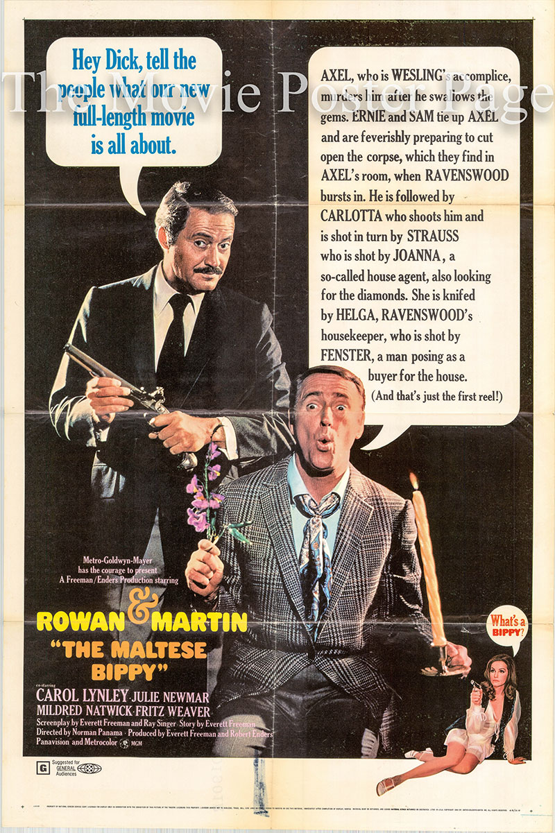 Pictured is a US one-sheet poster for the 1969 Norman Panama film The Malteze Bippy starring Dan Rowan and Dick Martin.