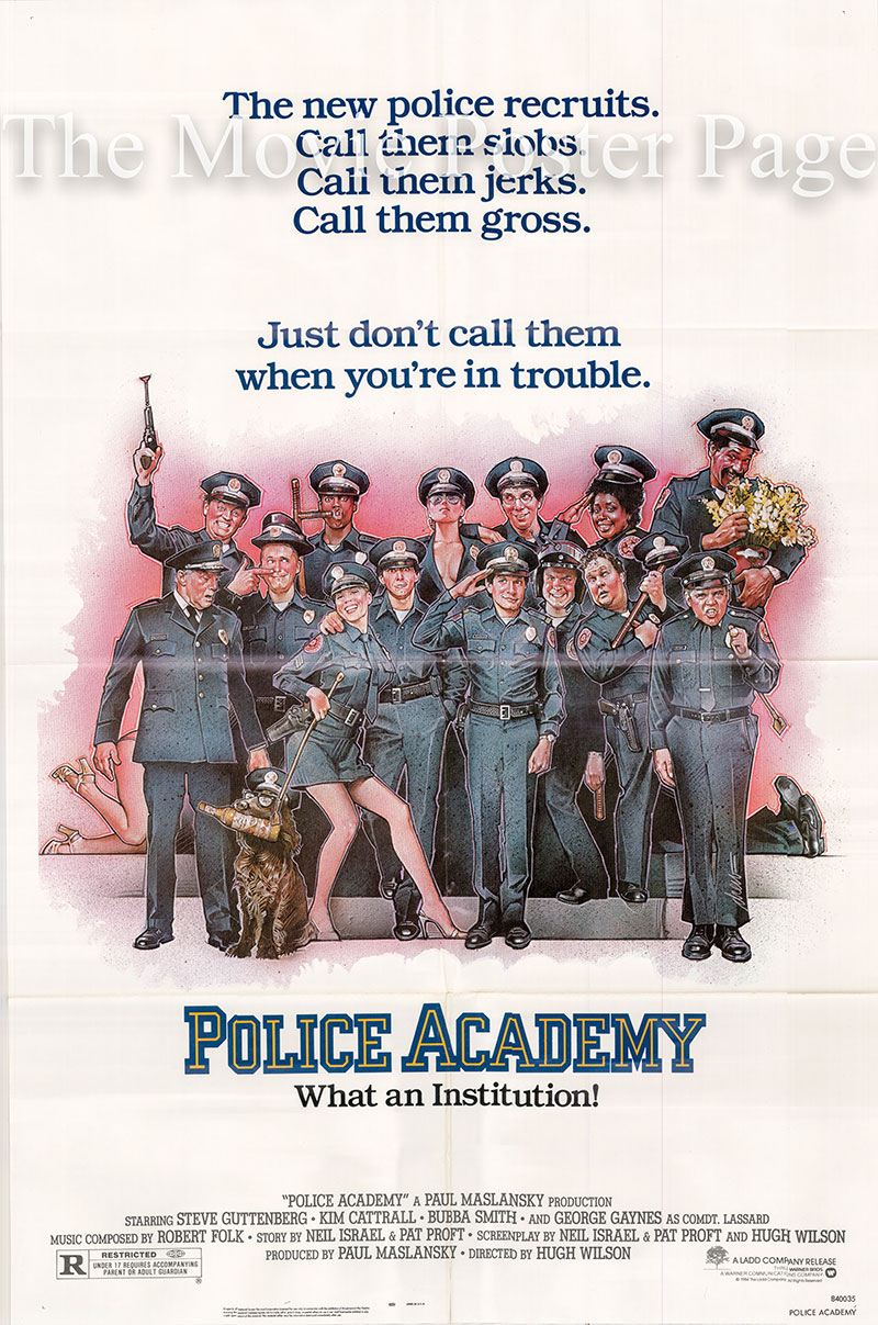 Pictured is a US one-sheet poster for the 1984 Hugh Wilson film Police Academy starring Steve Guggenberg.