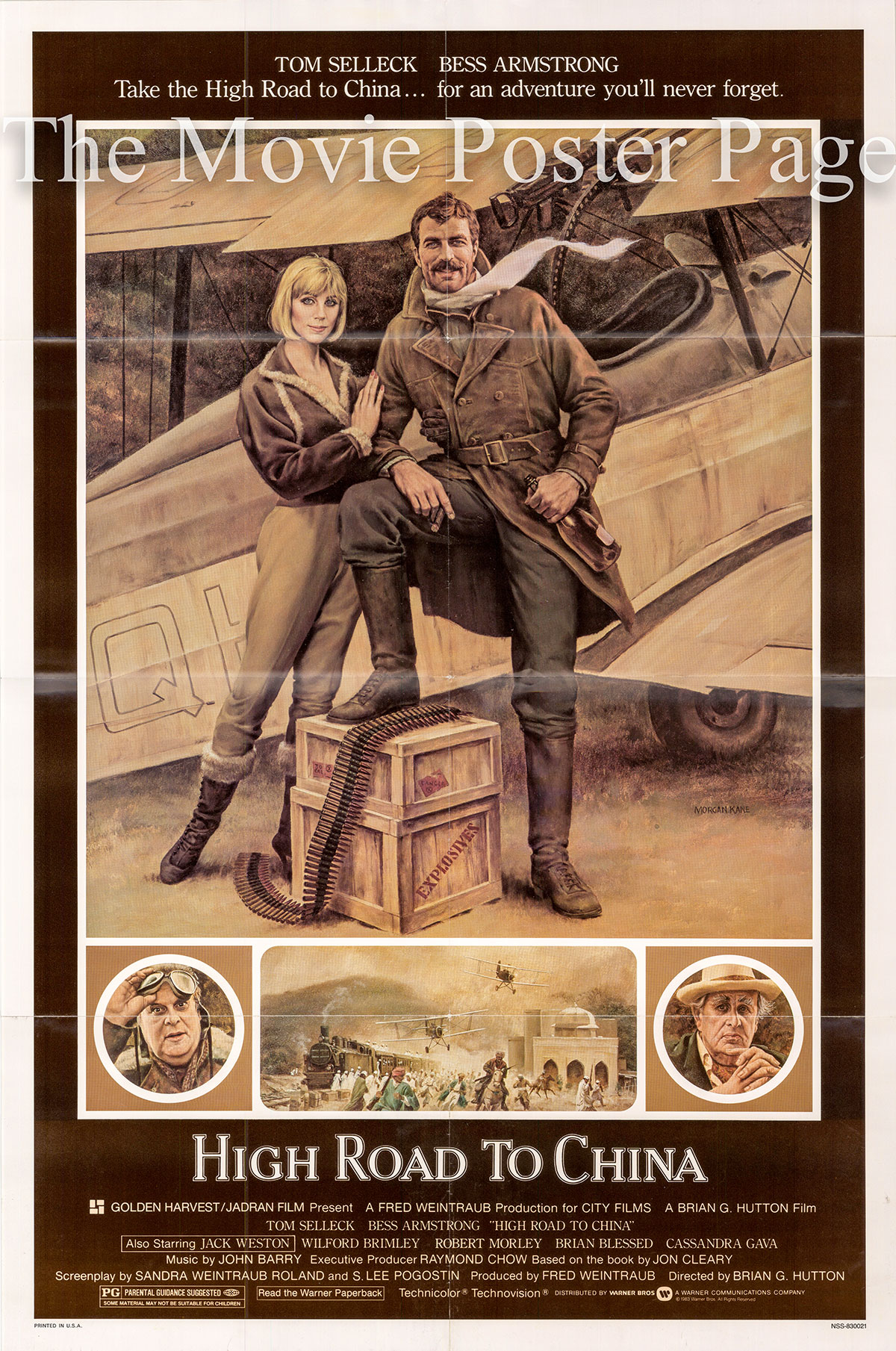 Pictured is a US one-sheet promotional poster for the 1983 Brian G. Hutton film High Road to China starring Tom Selleck.