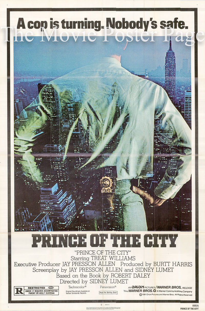 Pictured is a US one-sheet poster for the 1981 Sidney Lumet film Prince of the City starring Treat Williams.