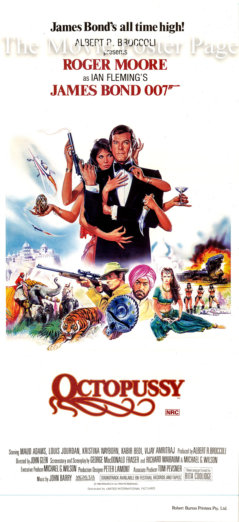 Pictured is an Australian daybill made to promote the 1983 John Glen film Octopussy starring Roger Moore as James Bond.