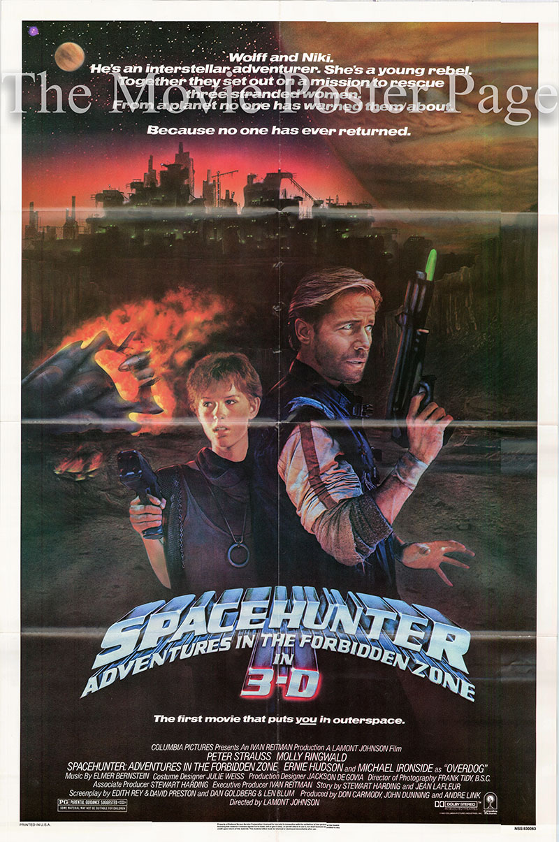 Pictured is a US one-sheet poster for the 1983 Lamont Johnson film Spacehunter starring Peter Strauss as Wolff.