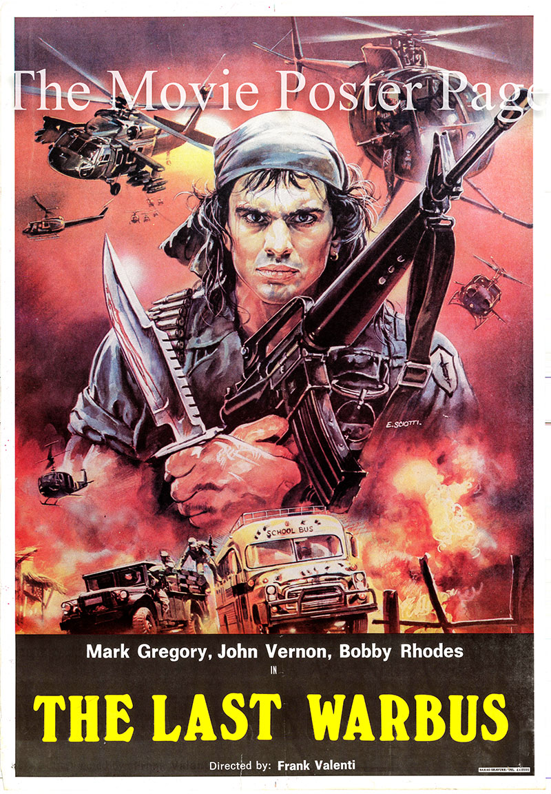 Pictured is an Egytptian promotional poster for the 1989 Mark Vernon film Afghanistan - The Last War Bus, starring Mark Gregory.