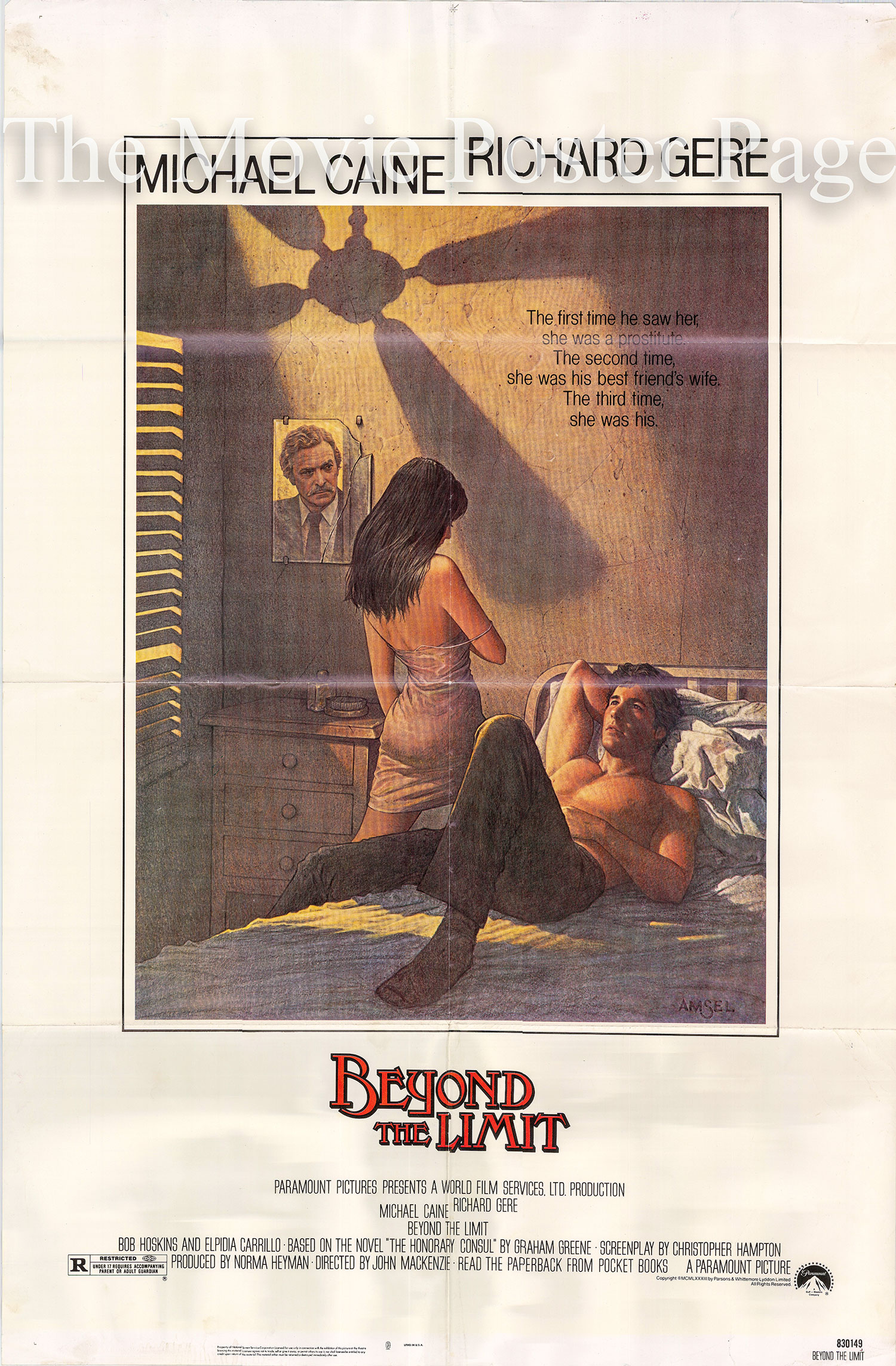 Pictured is a US one-sheet  promotional poster for the 1983 John Mackenzie film Beyond the Limit starring Richard Gere and Michael Caine.