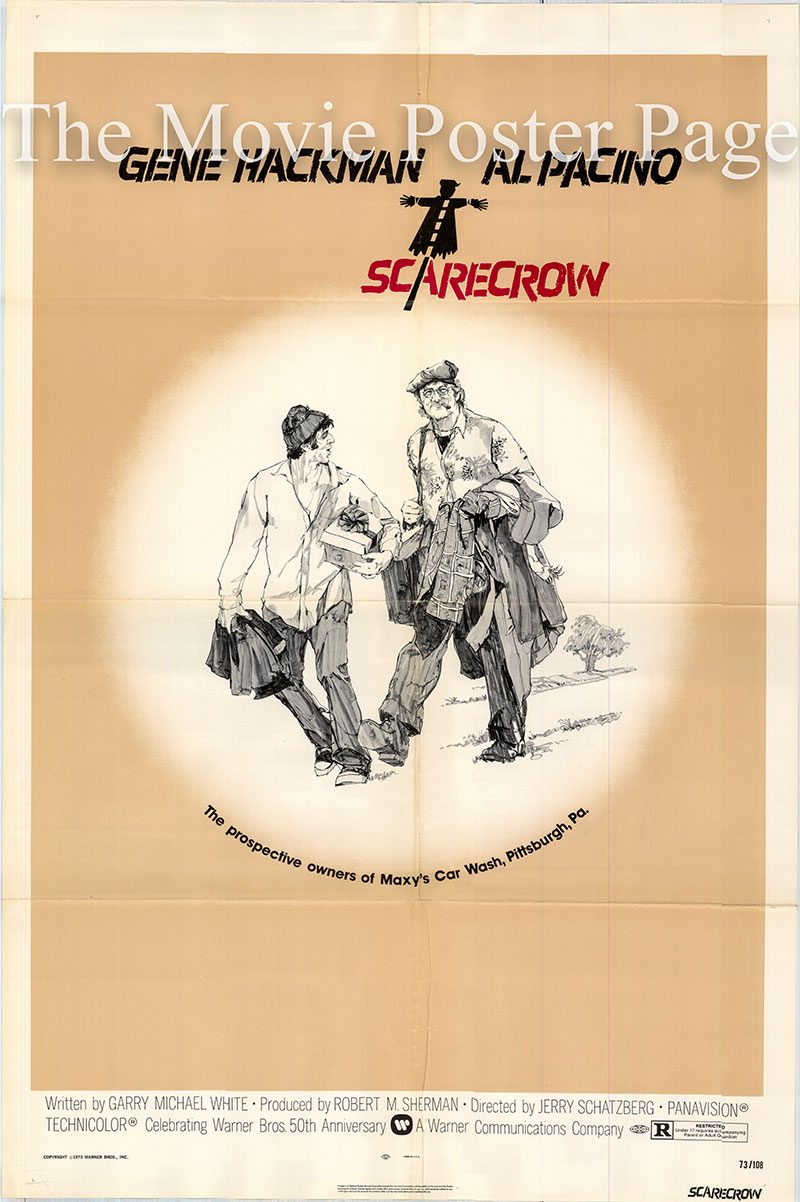 Pictured is a US one-sheet poster for the 1973 Jerry Schatzberg film Scarecrow starring Gene Hackman as Max.