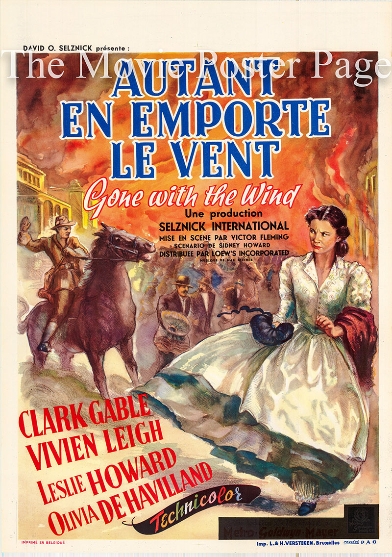 Pictured is a Belgian promotional poster for a 1954 rerelease of the 1939 Victor Fleming film Gone with the Wind starring Clark Gable as Rhett Butler.