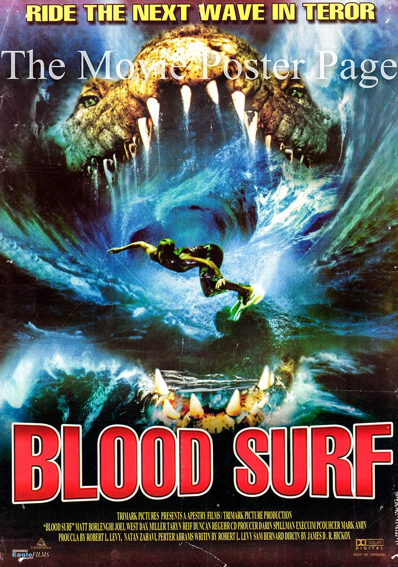 Pictured is an Egyptian promotional poster for the 2000 James D.R. Hickox film Blood Surf, starring Dax Miller.