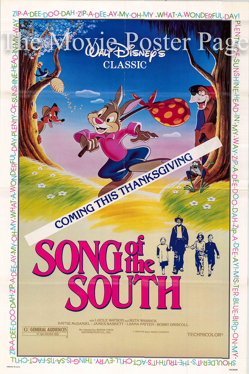 Pictured is a US one-sheet poster for a 1986 rerelease of the 1946 Harve Foster and Wilfred Jackson film Song of the South starring Ruth Warrick as Sally.