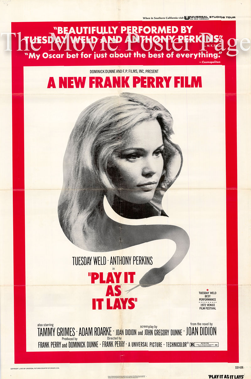 Pictured is a US one-sheet for the 1962 Frank Perry film Play it as It Lays starring Tuesday Weld.
