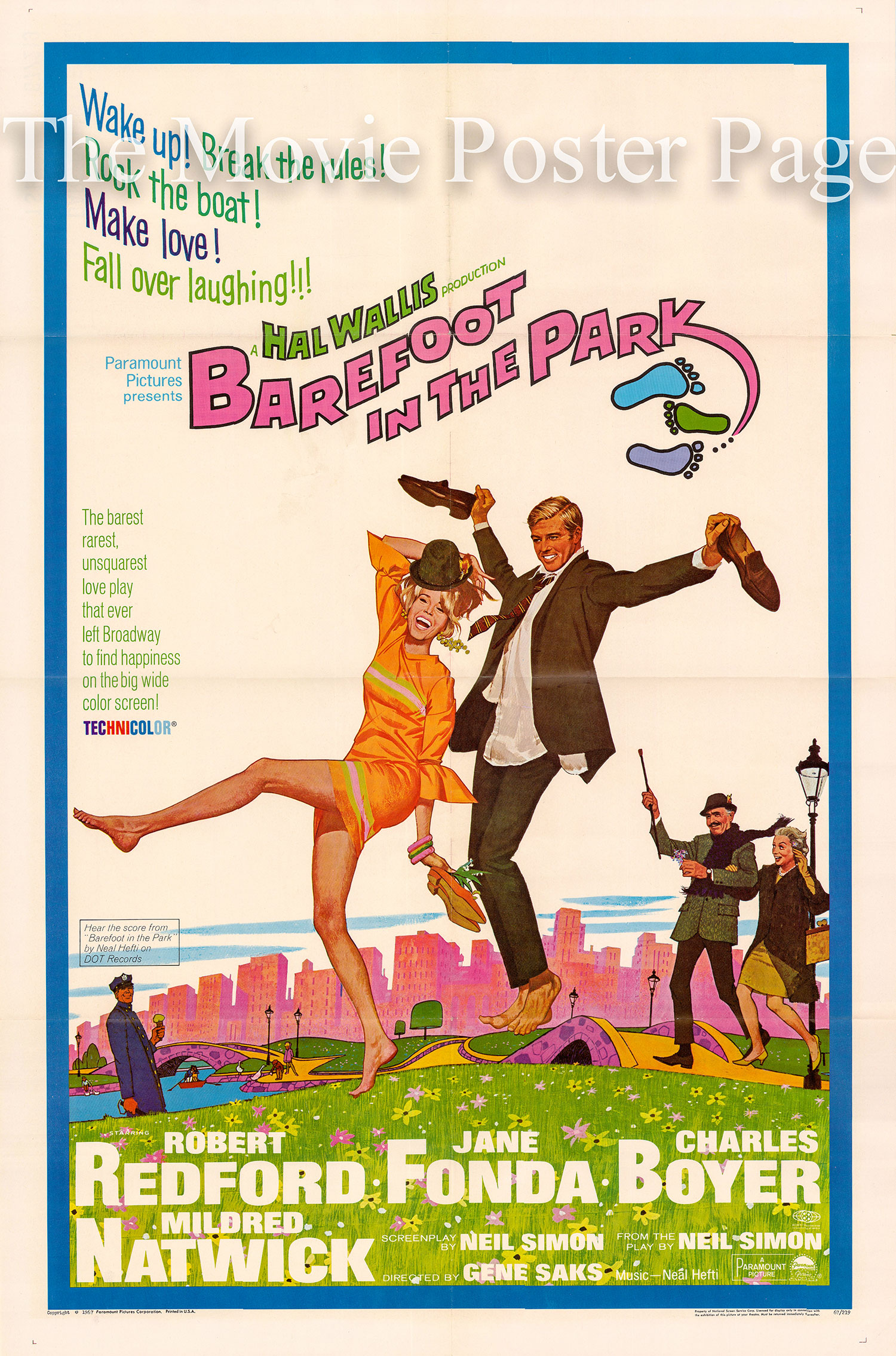 Pictured is a US promotional poster for the 1967 Gene Saks film Barefoot in the Park starring Jane Fonda and Robert Redford.