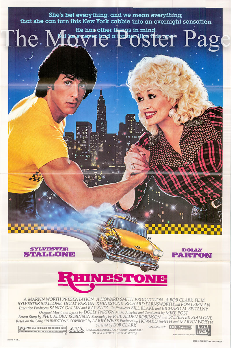 Pictured is a US one-sheet poster for the 1984 Bob Clark film Rhinestone starring Dolly Parton as Jake Farris.