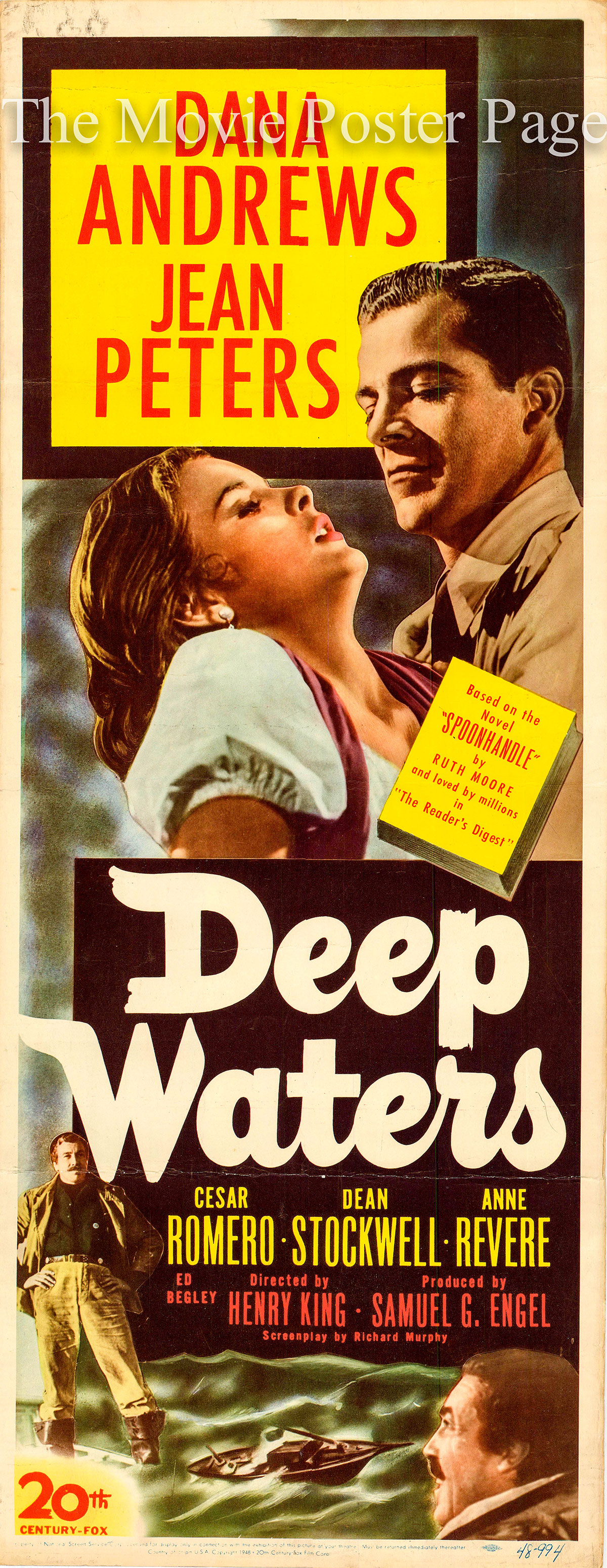 Pictured is a US insert poster for the 1948 Henry King film Deep Waters starring Dana Andrews as Hod Stillwell.