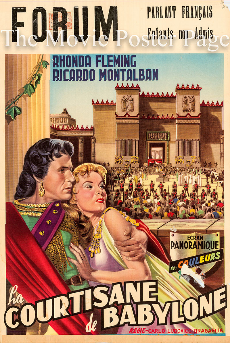 Pictured is a Belgian promotional poster for the 1955 Carlo Ludovico Bragalia film Queen of Babylon, starring Rhonda Fleming.