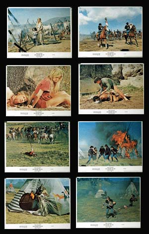 Pictured is a US lobby card set for the 1970 Ralph Nelson film Soldier Blue starring Candice Bergen.