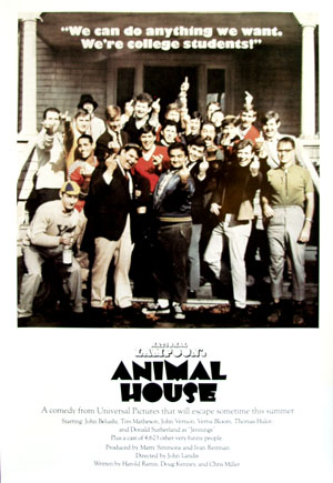 Pictured is a reprint of a promotional poster for the 1978 John Landis film Animal House starring John Belushi.