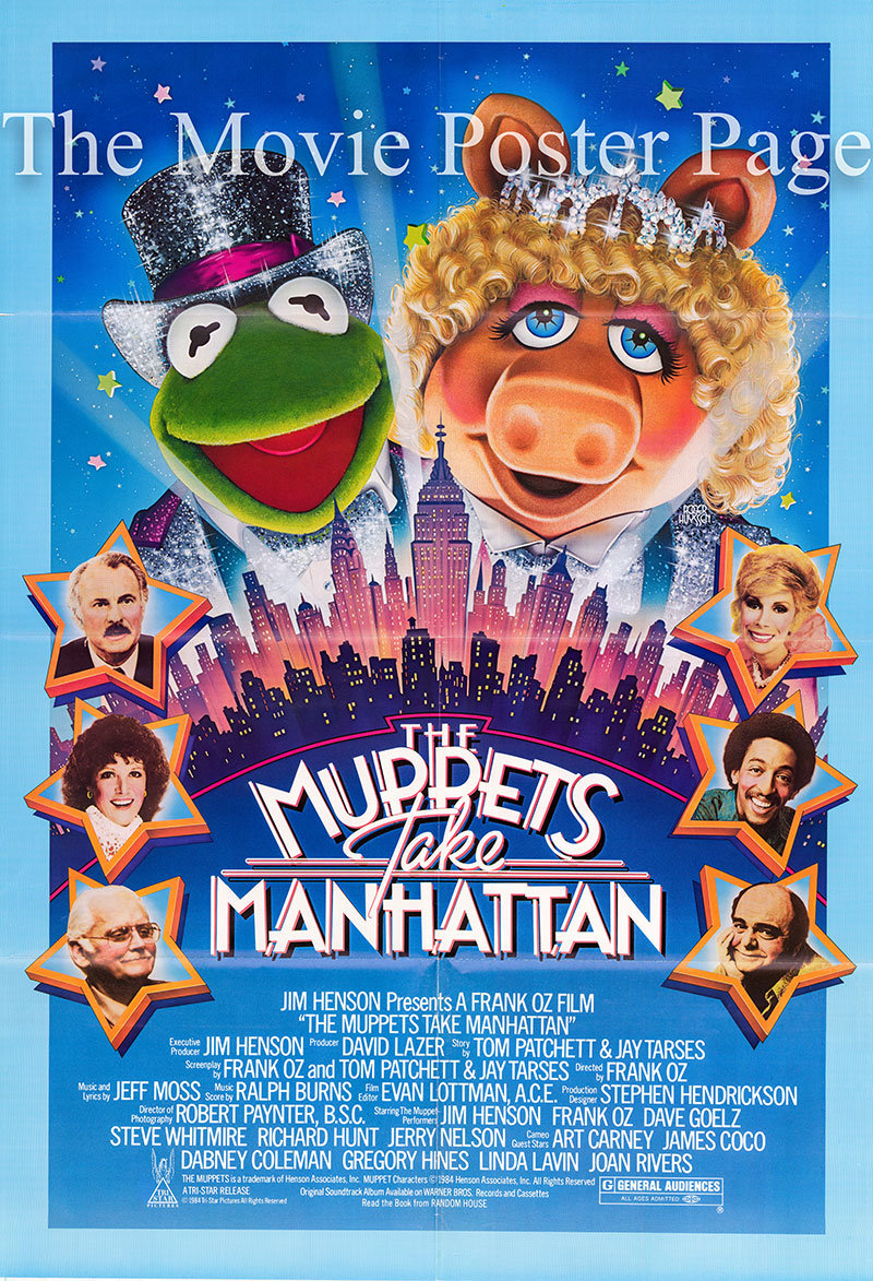 Pictured is a US one-sheet poster for the 1984 Frank Oz film The Muppets Take Manhattan starring Jim Henson as the voice of Kermit the Frog.