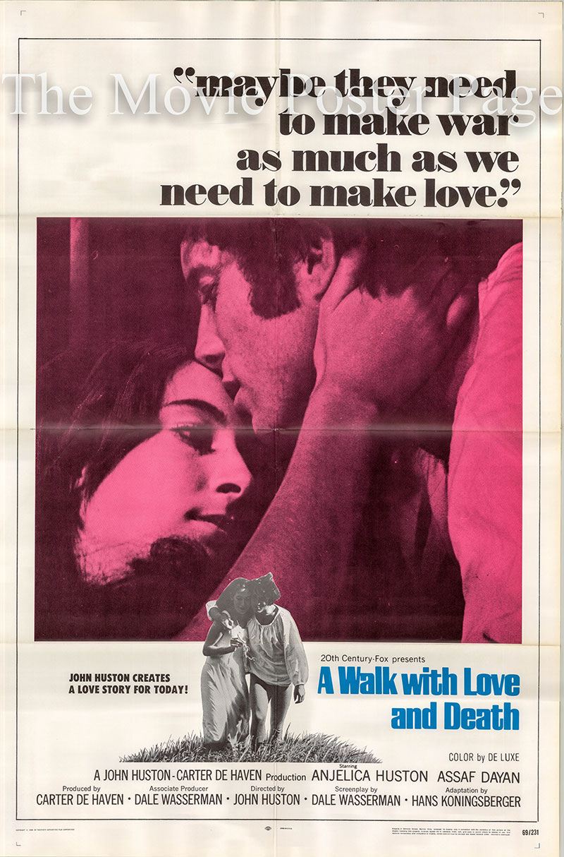 Pictured is a US one-sheet poster for the 1969 John Huston film A Walk with Love and Death starring Anjelica Huston as Claudia.