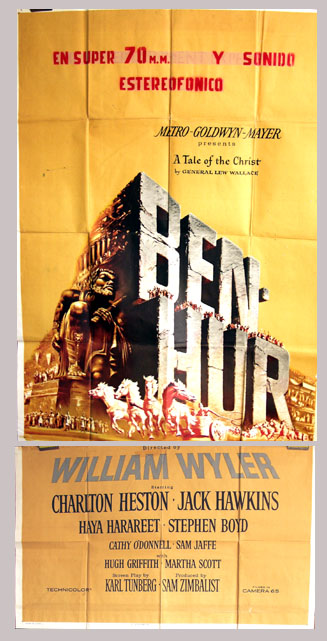 Pictured is a US three-sheet poster for the 1959 Billy Wilder film Ben Hur starring Charlton Heston.