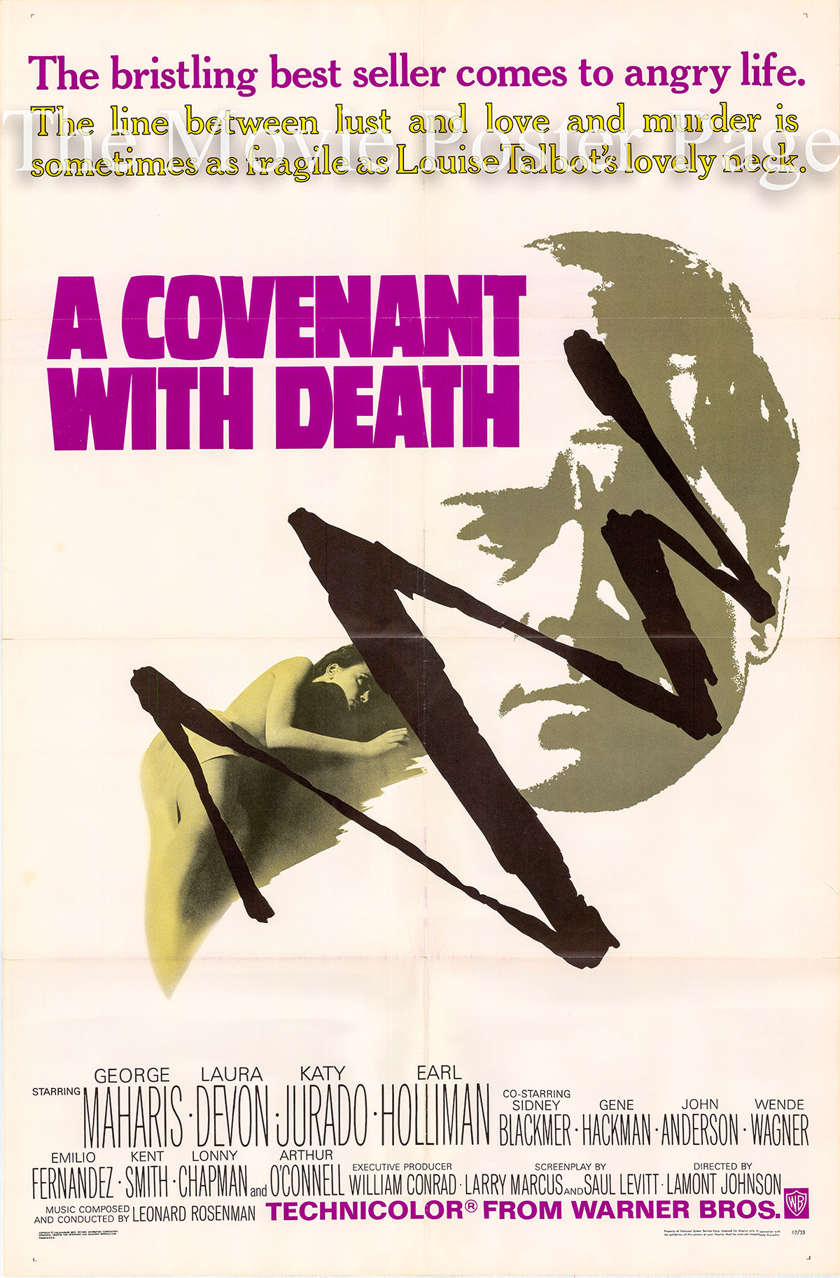 Pictured is a US promotional poster for the 1967 Lamont Johnson film Covenant with Death starring George Maharis.