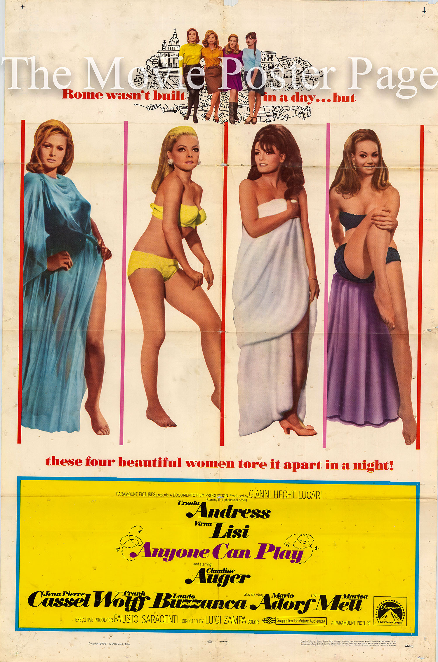 Pictured is a US one-sheet poster for the 1967 Luigi Zampa film Anyone Can Play starring Ursula Andress.