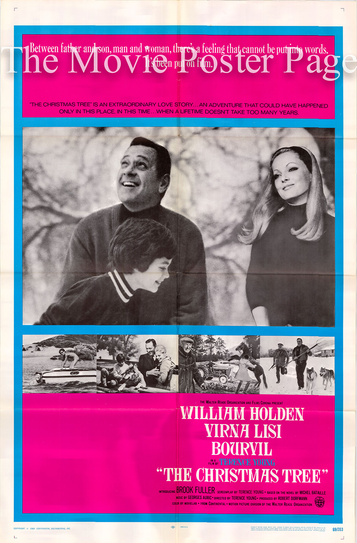 Pictured is a US one-sheet poster for the 1969 Terence Young film The Christmas Tree starring William Holden.