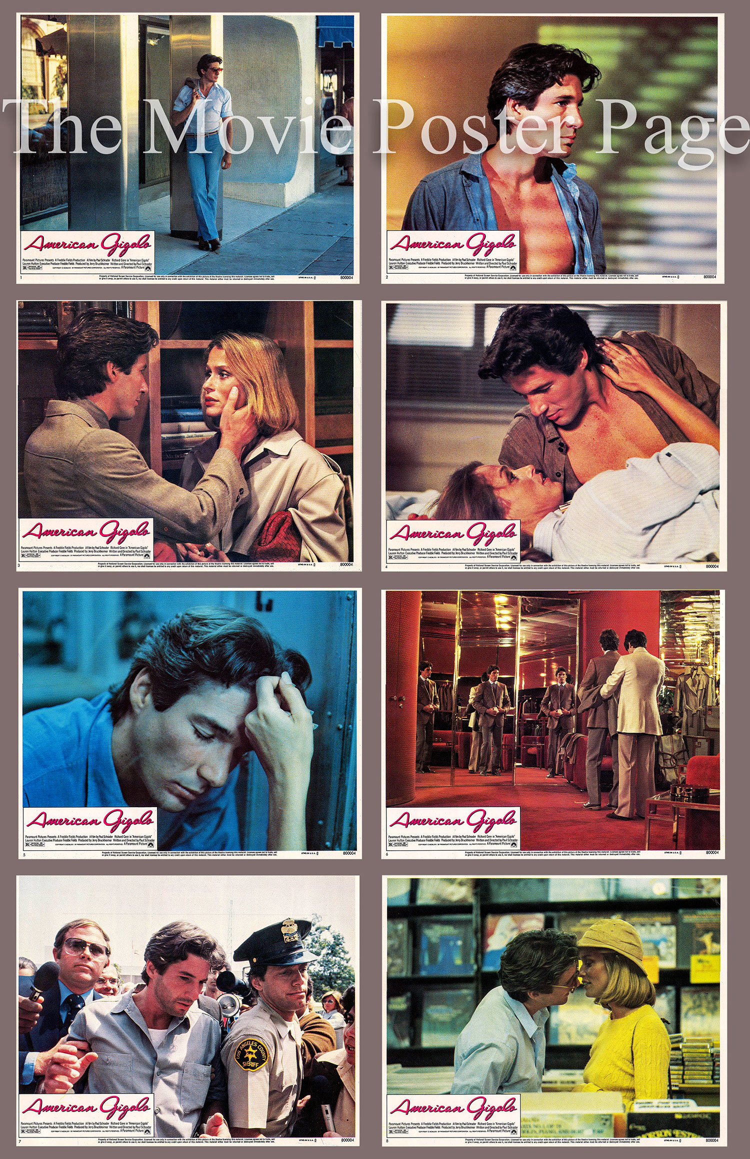 Pictured is a US Lobby Card set for the 1980 Paul Schrader film American Gigolo starring Richard Gere.